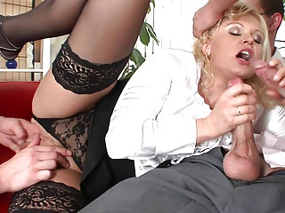 Anal Milfs Group Sex video: Hot blondie cries as she could not tolerate the gangbang any longer