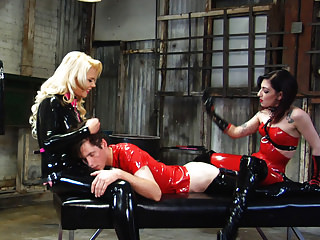 Femdom Latex Strapon video: Cybill Troy Strap-On Pegging 1