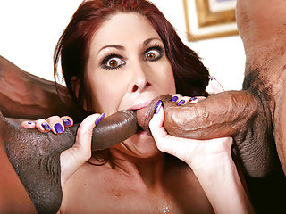 Interracial Milfs Cougars video: Big titted Cougar Tiffany Mynx Fucks Two Black Cocks