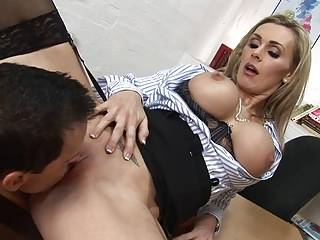 Milfs Blondes Big Boobs video: Sexy teacher can't wait so she just gets fucked in her classroom