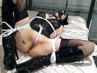 Dominatrix Gets Tied Up Tight