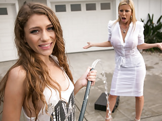 Matures Milfs Lesbians video: Mom needs her clean car! - Rebel Lynn, Alexis Fawx