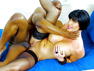 Interracial Pornstars Cuckold video: MILF pornstar fucked by a black guy in front of her husband