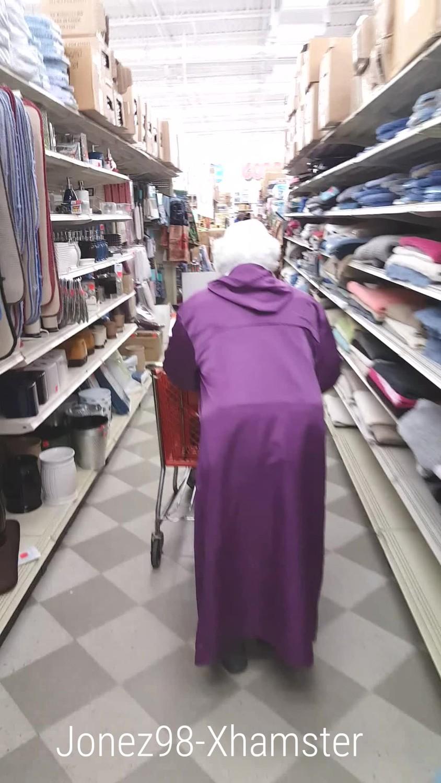Black granny upskirt No Panties