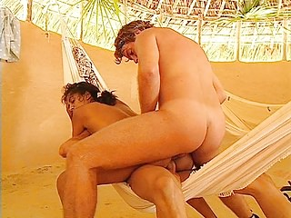 Vintage Latin Double Penetration video: Luisa Victoria Gets a DP in the Tent