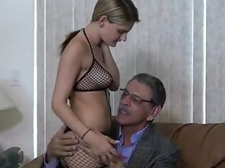 Pretty blonde likes dressing up and fucking old guys