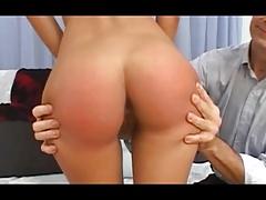 Stunning readhead first time spanking