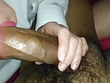 Red lipped white milf nibbling on big Indian cock