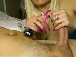 Pov Playing Long Nails video: Girl with long pink nails playing with cock