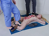 Submissive blonde turned into a literal doormat