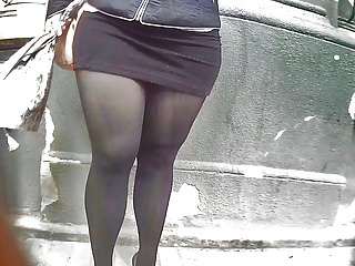 Voyeur Pantyhose Big Butts video: curvy girl in tight dress