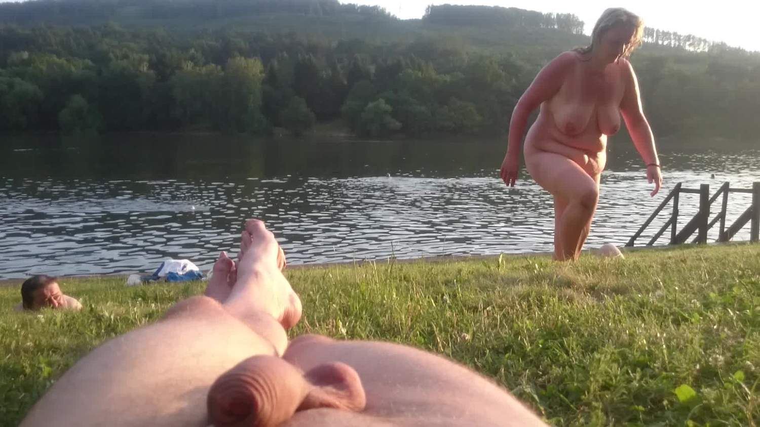 Nice large saggy swinging tits climbing a hill
