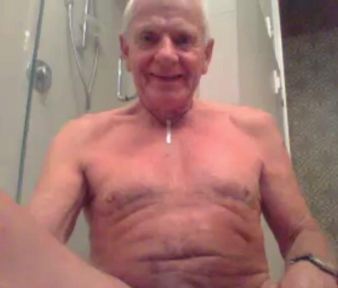 grandpa stroke stroke with  a dildo in ass and cum