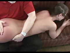 Fine brunette model spanked otk with hand and brush