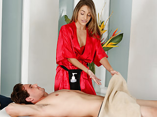 Teens Massage Tits video: Shy man on his first massage with Kimmy Granger
