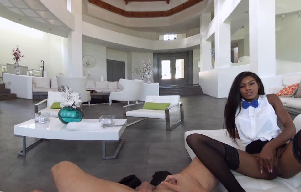 VR Porn &ndash Blowjob from horny Ebony slut