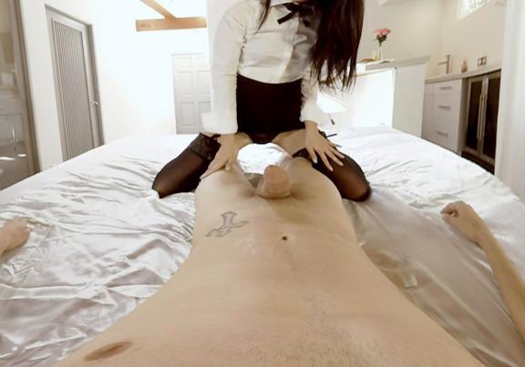 VR Porn &ndash Hot Asian slut makes a footjob and suck your cock