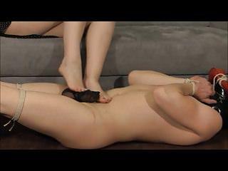 slave foot and handjob