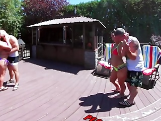 Babes Brunettes Outdoor video: 3-Way Porn - VR Group Orgy by the Pool in Public 360