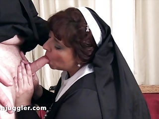Blowjobs Big Boobs video: The Nun takes it in her mouth