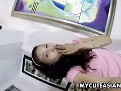 Wonderful Asian babe with braces has a hot show