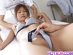 Azusa Ayano sexy Asian milf gives incredible double blowjob