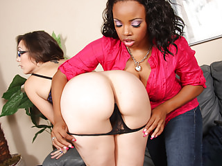 Interracial Lesbians Strapon video: Rough lesbian Action with Stace Lane and Sin Sage