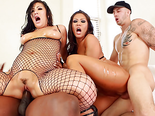 Group Sex Interracial Asian video: London Keyes and Mena interracial anal fuck