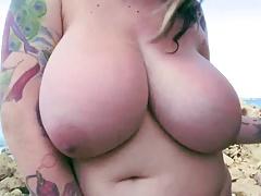voluptuous chubby girl  posing on beach