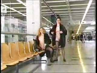 Public Nudity Fingering video: Exhibitionism at airport