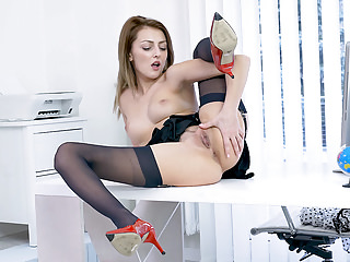 Office slut teases up skirt nylons then panties off to wank