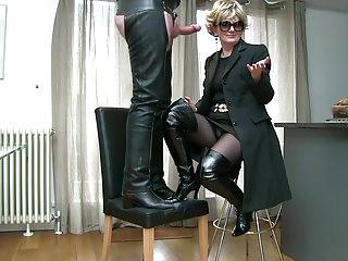 Milf in patent thigh boots cum tasting tour