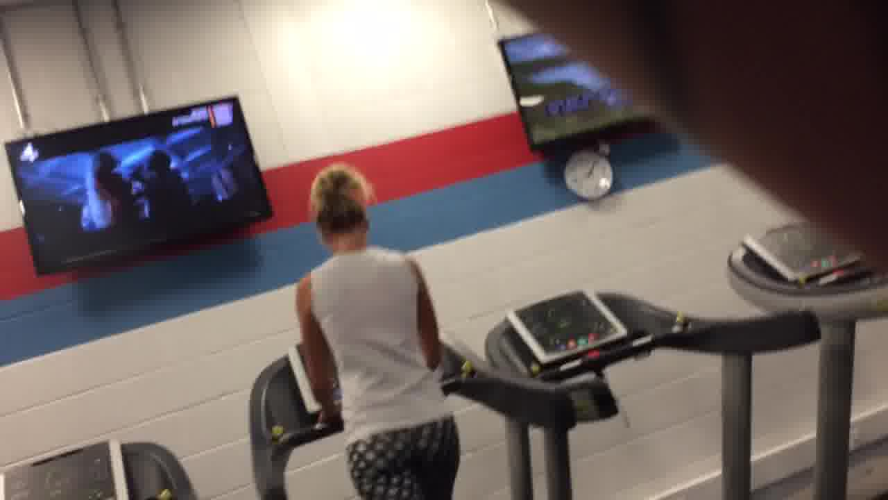 Hot blonde ass at gym