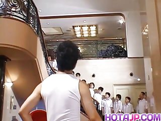 Group Sex Asian Japanese video: Naughty Asian teen Azusa Ayano gangbanged in hot bukkake sex