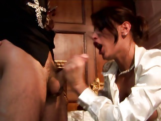Blowjobs Big Boobs Brunettes video: Randy MILF with glasses seduces priest to fuck her hardcore