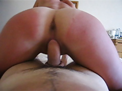 Woman with sexy sunburn and white ass rides a cock