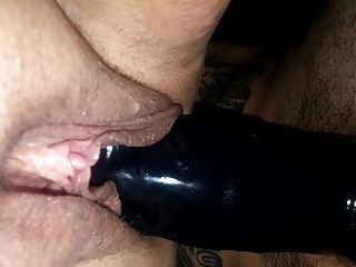 Sexy BBW wife's big clit pussy PAWG takes  BBC strapon pt 3