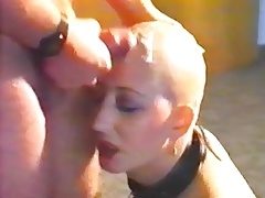 Vintage cumshot on a bald head