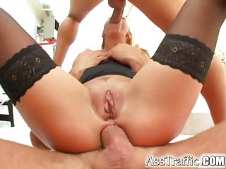 Ass Traffic Chesty big butt girl takes two cocks up ass