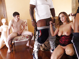 Natasha Nice Waits Two Black Bulls With Two Cuckold