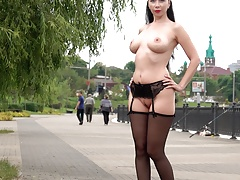 Wearing stockings and masturbation in public