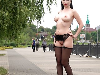 Public Nudity Stockings Flashing video: Wearing stockings and masturbation in public