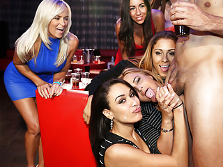 Group Sex Cfnm Orgy video: Horny women are having a bachelorette party