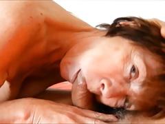 close-up granny Clarill sucking big cock saggy tits