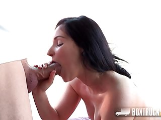 Amazing Lucia Denvile face-fucked by the masseur