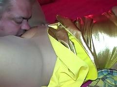Torn pantyhose - licking cunt