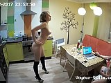 Horny blonde chick does a little dance