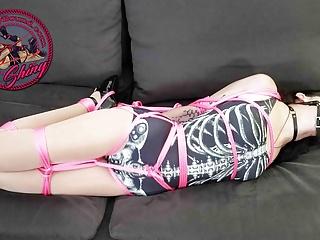 Bdsm Bondage movie: Vesper Luna Swimsuit Hogtied