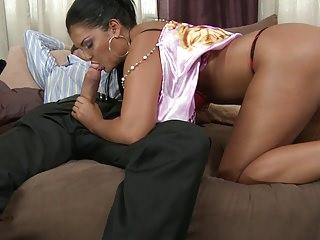 .Jasmin gets her big booty nailed hard from behind.