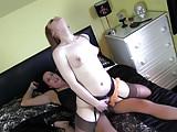 Lesbian redhead slut rides femdom Strapon Jane big strapon